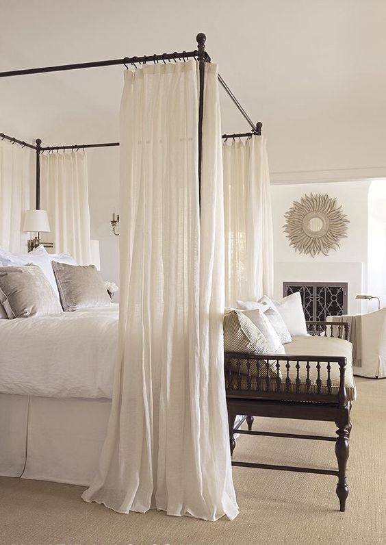 black frame canopy bed with airy white curtains for a dreamy feel & 33 Canopy Beds And Canopy Ideas For Your Bedroom - DigsDigs