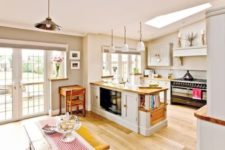 04 country-style kitchen and a dining space with a striped table runner