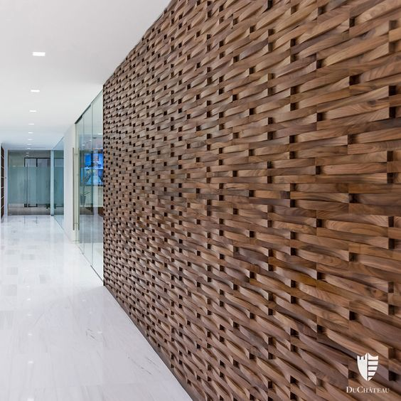 Dimensional wood wall coverings with any patterns will add a luxury