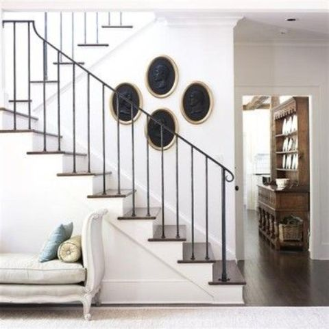 wrought iron stair railing for a modern meets rustic home