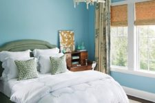 05 calm-tone blue and green bedroom with a rustic flavor