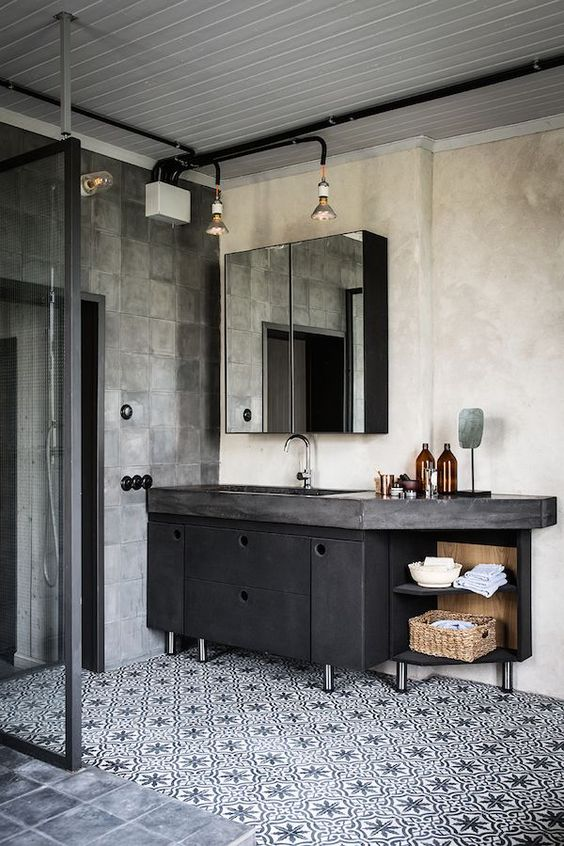 dark metal vanity with a concrete countertop 32 Trendy And Chic Industrial Bathroom Vanity Ideas  DigsDigs