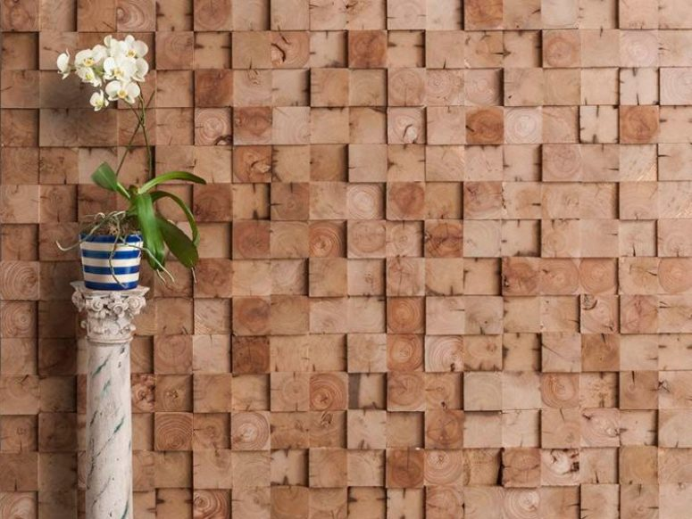 dimensional and textural wood pieces wall covering is classics for any modern or rustic interior