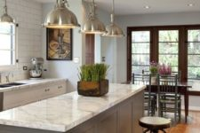 05 traditional meets industrial kitchen with white quartz counters and a grey island