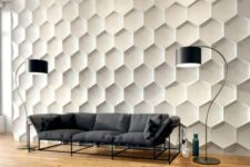 06 3D wall panels with a honeycomb pattern, which is very trendy today