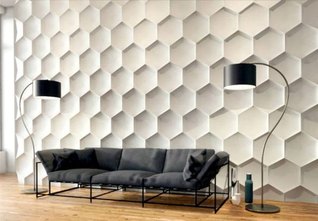 3D wall panels with a honeycomb pattern, which is very trendy today