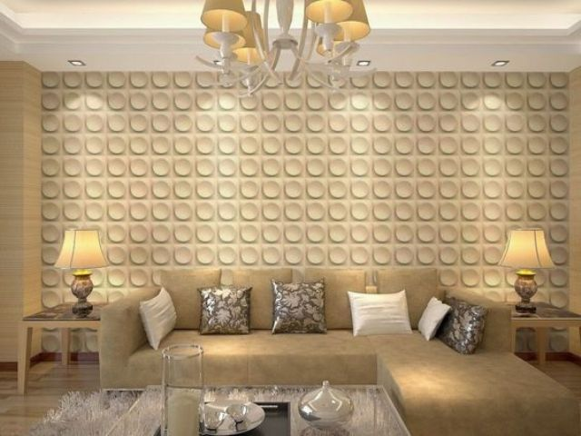 a traditional space made more modern with a 3D wall