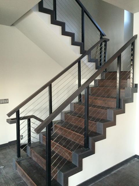 Black Aluminum Interior Staircase With A Cable Railing System
