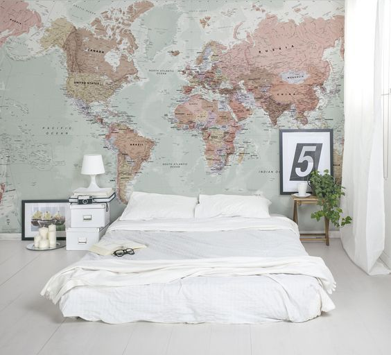 31 cool travel themed home d cor ideas to rock digsdigs for Classic world map wall mural