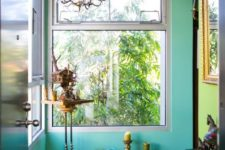 07 turquoise and lime green walls for a whimsy entryway with lots of accessories