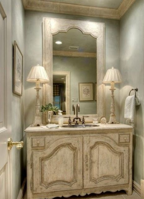 29 vintage and shabby chic vanities for your bathroom for French shabby chic bathroom ideas
