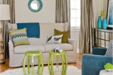 08 lime green and blue accessories make this room more modern and edgy