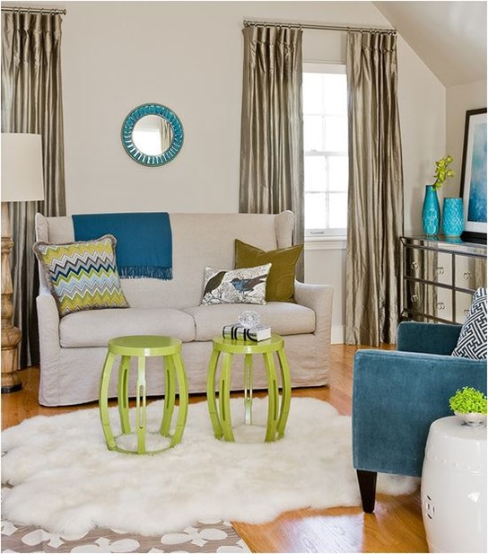 lime green and blue accessories make this room more modern and edgy