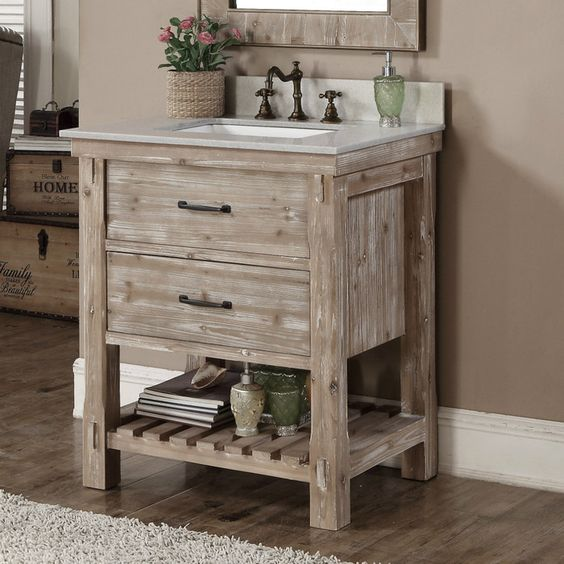 Small Bathroom Vanity Drawers : Rustic bathroom vanities and cabinets for a cozy touch