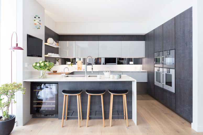 The kitchen is designed efficiently to accomodate everything necessary