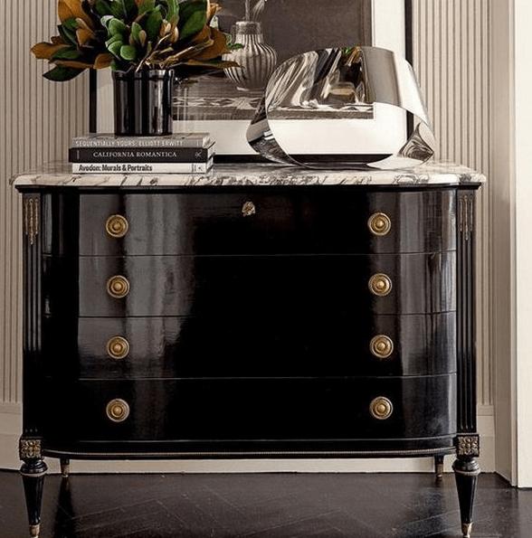 elegant dark wood art deco dresser with round handles
