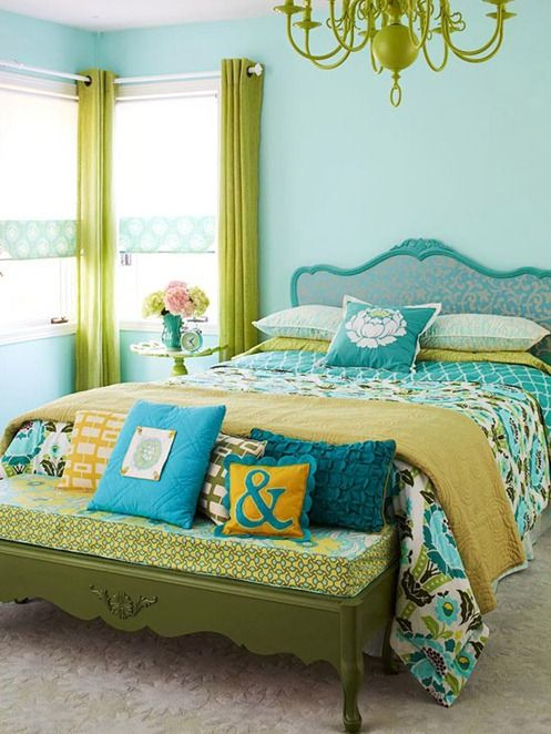 lime greens and turquoise for a bold and cheerful bedroom with whimsy decor