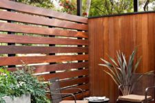09 mid-century modenr patio  with wooden horizontal and vertical fence