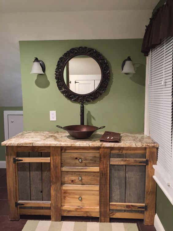 34 rustic bathroom vanities and cabinets for a cozy touch for Cabinet salle de bain