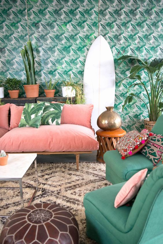 spring flavor in botanical wallpaper and a lot of greenery around