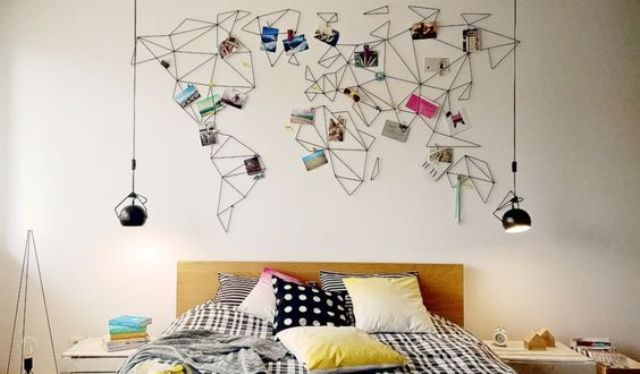 string world map wall art with photos from the trips