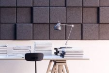 10 acoustic wood wall panels with a 3D effect both for practical and aesthetical functions