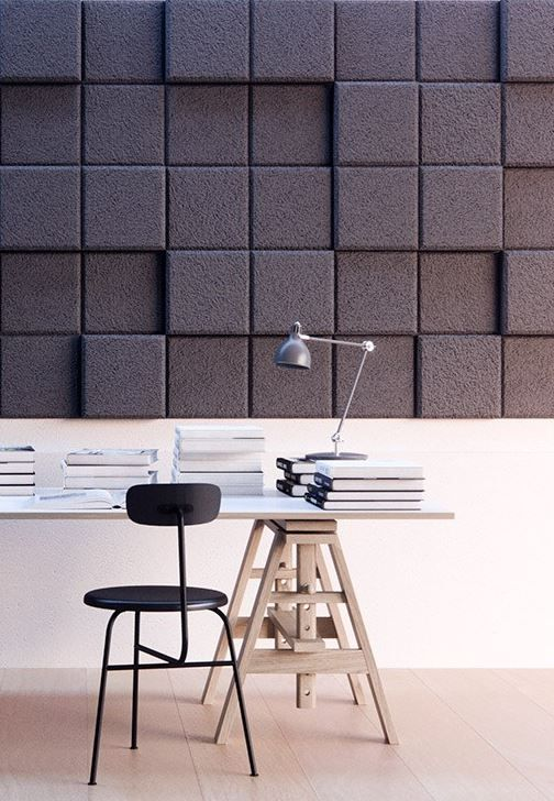 acoustic wood wall panels with a 3D effect both for practical and aesthetical functions