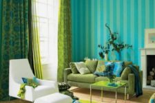 10 lime green, turquoise and blue living room with a crispy white chair