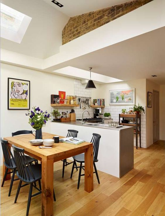 30 spacious and airy open plan kitchen ideas digsdigs Small kitchen dining area ideas