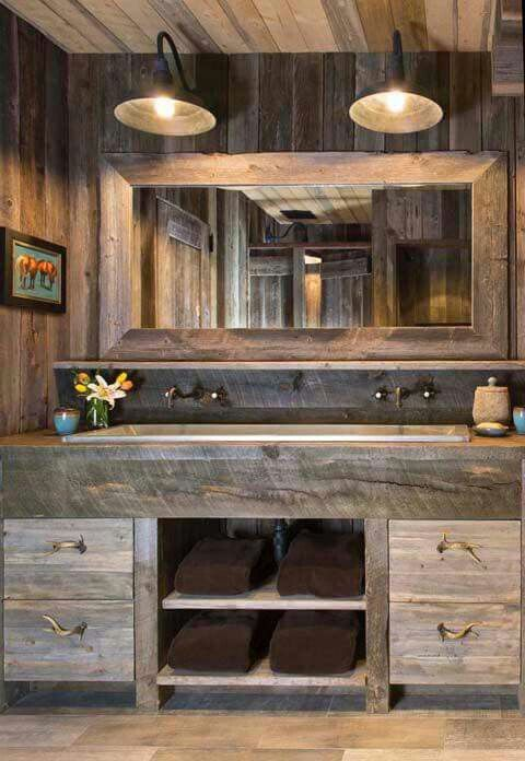 reclaimed rough wood vanity with drawers and open shelves