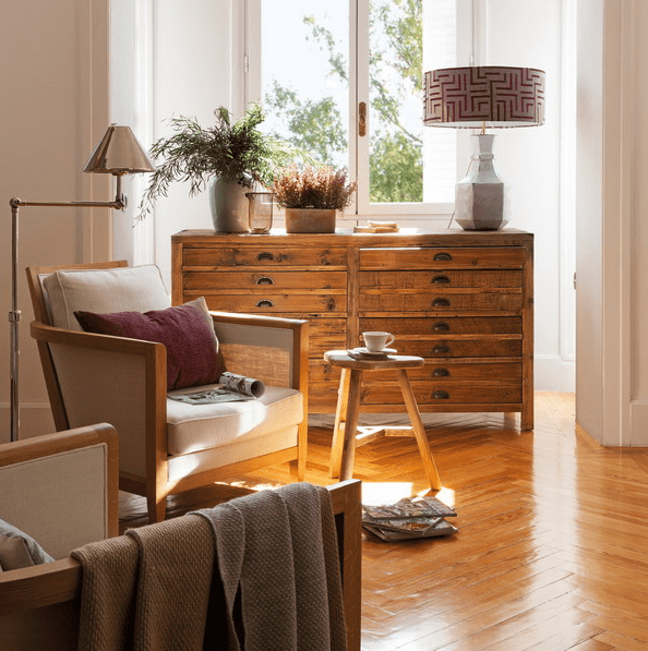 rustic dresser with lots of drawers will fit a lot of spaces and has a timeless look