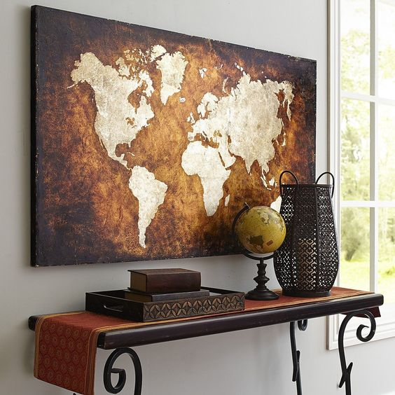 vintage-inspired world map wall art for traditional spaces