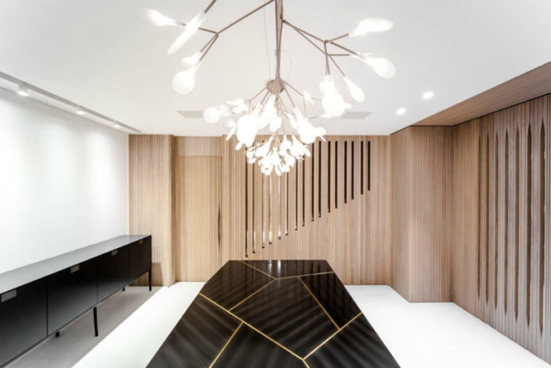 Each room and zone have its special lighting fixture, which makes the space eye-catching