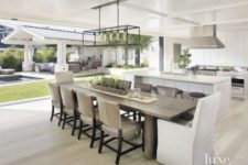 11 contemporary kitchen and dining space with ashy grey woods and lots of white, perfectly matching areas
