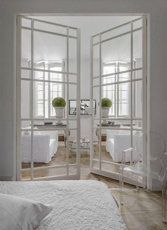 Exquisite Take On Traditional French Doors, Wood Painted White With  Adorable Framing