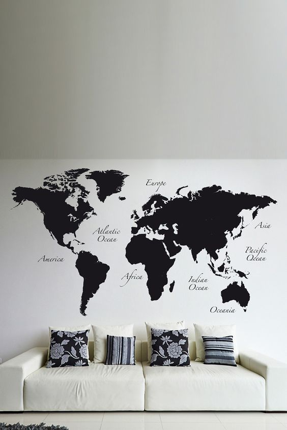 31 cool travel themed home d cor ideas to rock digsdigs for Black wall mural