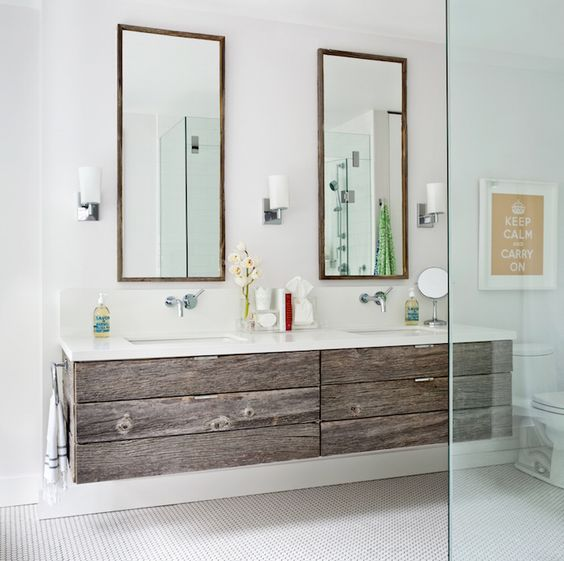 Vanity Light Rough In : 34 Rustic Bathroom Vanities And Cabinets For A Cozy Touch - DigsDigs