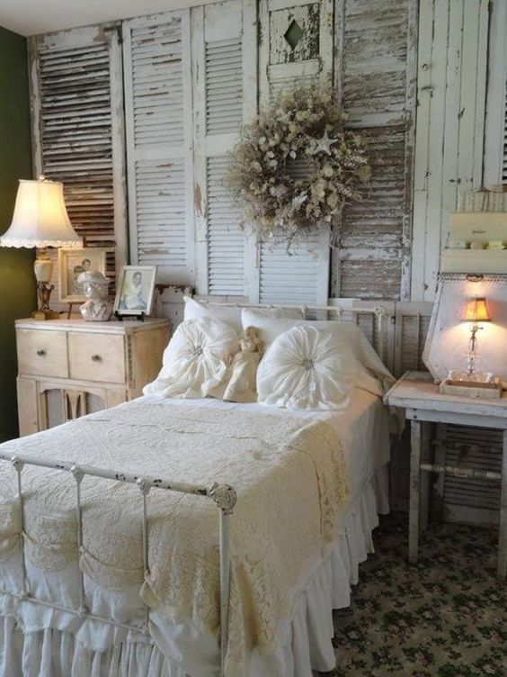 rusty wooden shutters for a vintage or shabby chic bedroom