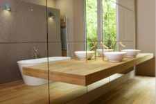 12 minimalist bathroom with light-colored wood and a mirror wall and a thin counter not to spoil the look