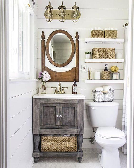 34 деревенских тщеславия ванной комнаты и шкафы для уютного прикосновения