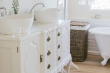 14 exquisite white French dresser used as a bathroom vanity