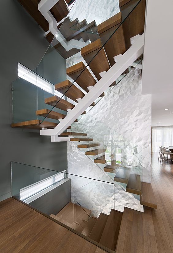 your staircase area can be made unique with just one 3D wall