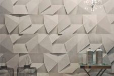 15 geometric wall panels with a chaotic pattern