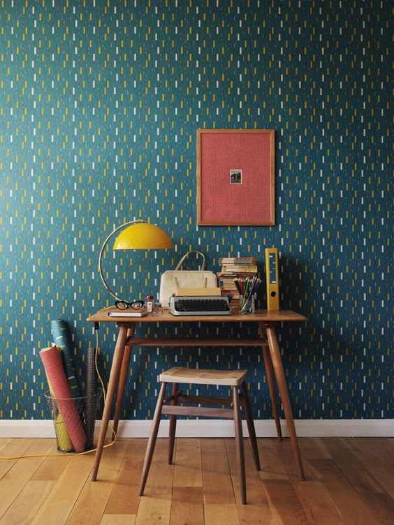 abstract green, yellow and white wallpaper for a home office nook