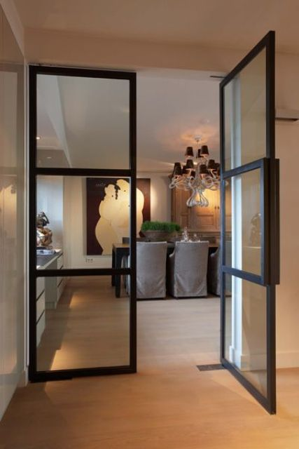 Superieur Black Metal Glass Doors With Simple Modern Design