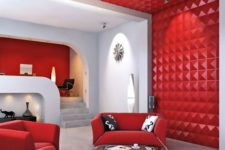 16 decorative 3D wall panels in red keep the decor style of the room