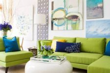 16 lime green upholstery, blue and navy pillows and art works
