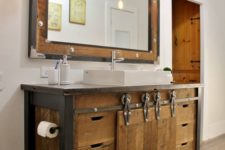 16 reclaimed wood bathroom vanity with metal details and the same mirror