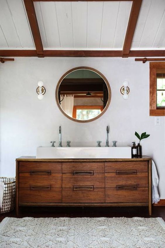 34 rustic bathroom vanities and cabinets for a cozy touch for Mid century modern master bathroom