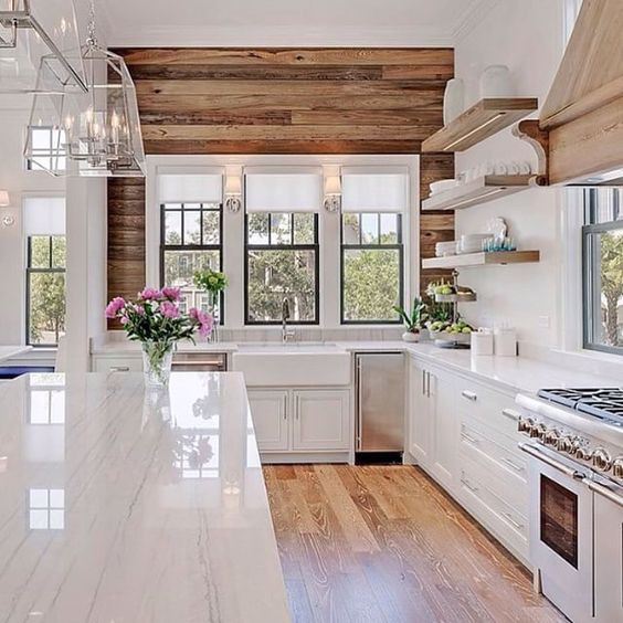rustic kitchen with reclaimed wood in decor and beautiful white quartz counters